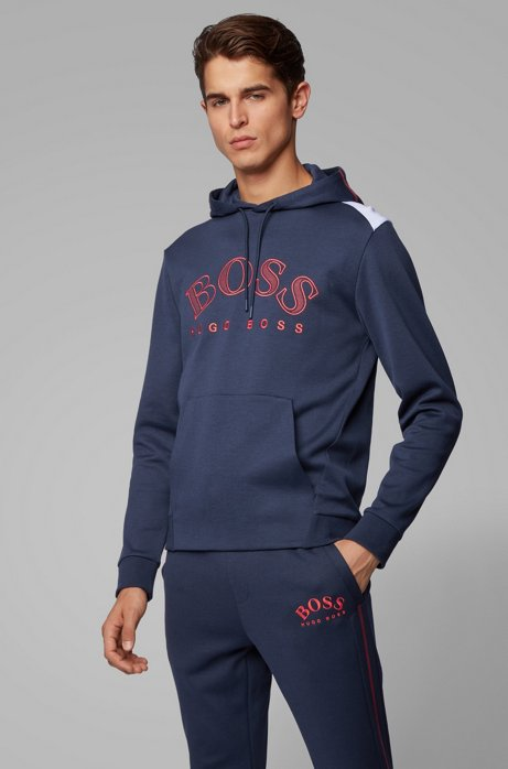 Regular-fit sweatshirt with large curved logo, Dark Blue