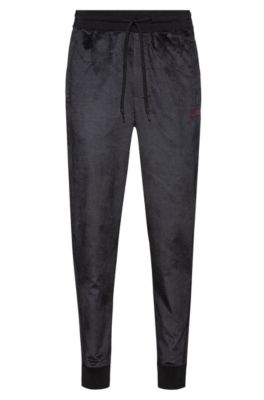 Cuffed jogging pants in cotton-blend velvet, Black