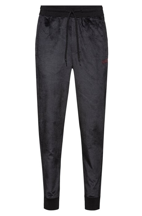 Cuffed jogging pants in cotton-blend velvet, Black