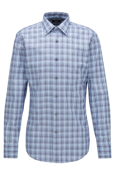 Slim-fit checked shirt in micro-structured cotton, Blue