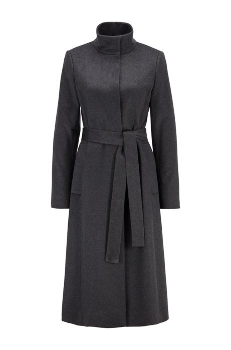Belted coat in pure Italian cashmere with stand collar, Dark Grey