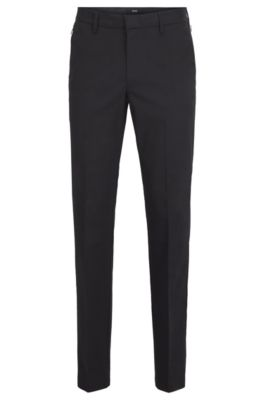 Slim-fit pants in Italian stretch gabardine with cashmere, Black