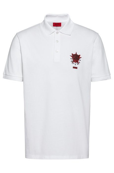 Cotton-piqué polo shirt with Berlin-inspired motifs, White