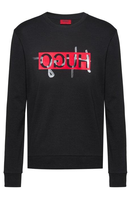 Regular-fit sweatshirt with new-season reversed logo, Black