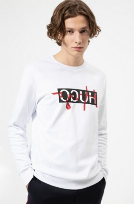 Regular-fit sweatshirt with new-season reversed logo, White