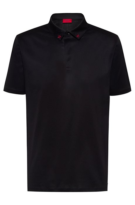 Regular-fit polo shirt in pure cotton , Black