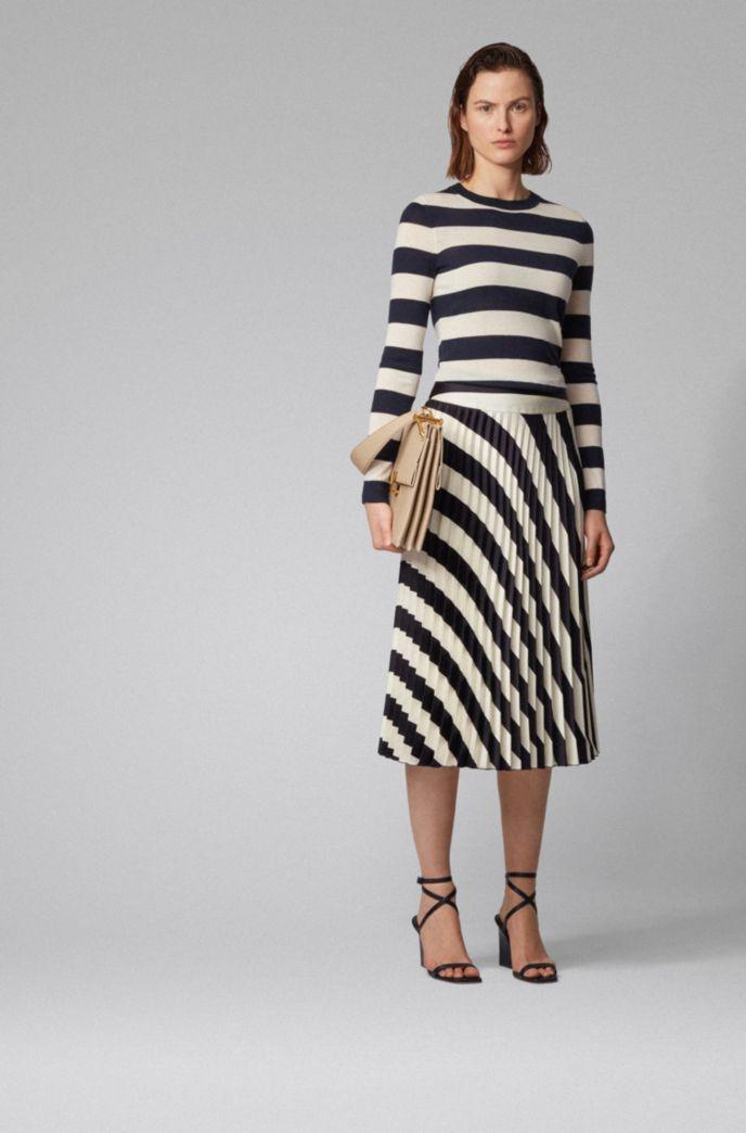 Slim-fit sweater in striped virgin wool