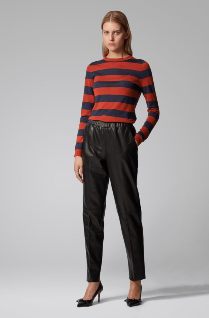 Slim-fit sweater in striped virgin wool