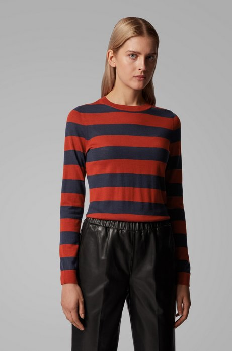 Slim-fit sweater in striped virgin wool, Patterned