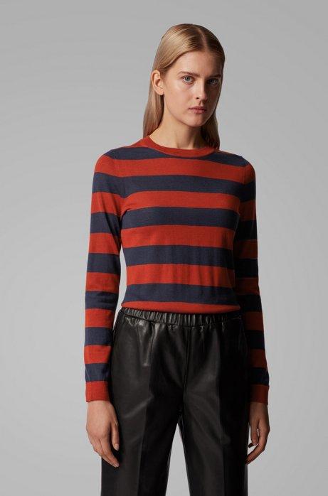 Slim-fit sweater in striped virgin wool, Patterned