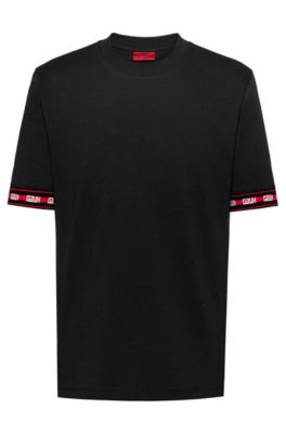 Relaxed-fit T-shirt with logo cuffs in cotton blend, Black