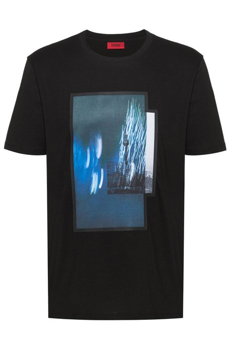 Cotton jersey T-shirt with Berlin photographic print, Black