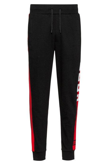 Interlock-jersey pants with contrast side stripe, Black