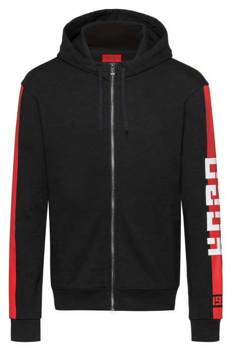 Interlock-jersey hooded sweatshirt with contrast side stripe, Black