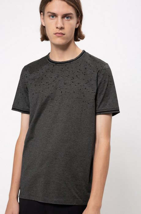 Regular-fit T-shirt in cotton with stardust pattern, Black