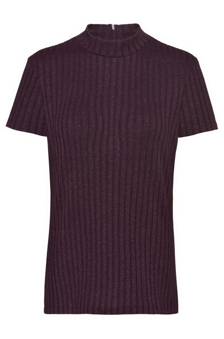 Slim-fit T-shirt in metalized yarn with mock neck, Red