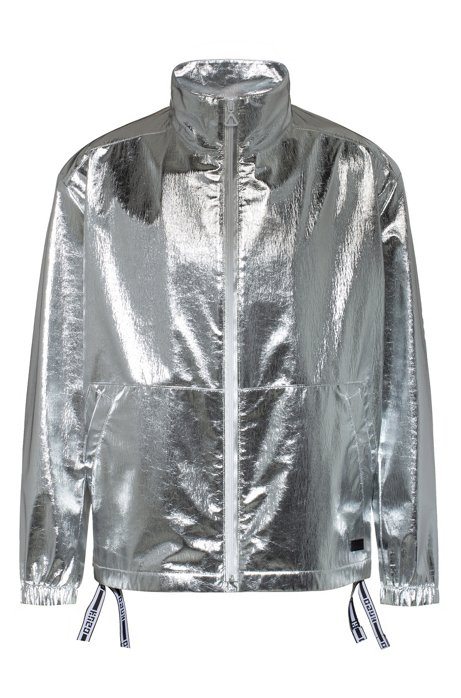Relaxed-fit windbreaker jacket with logo-tape drawstrings, Silver