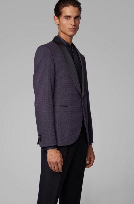 Slim-fit patterned jacket with shawl lapels in silk, Dark Blue
