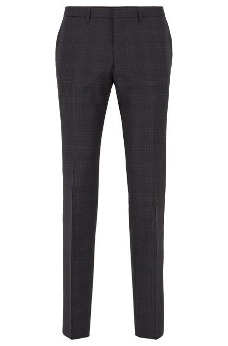 Extra-slim-fit checked pants in virgin-wool serge, Black