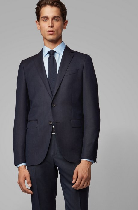 Slim-fit jacket in virgin-wool serge, Dark Blue