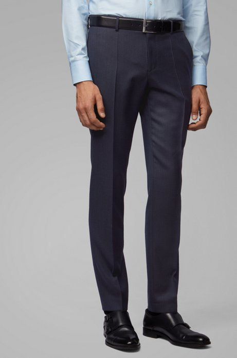 Slim-fit pants in micro-patterned virgin-wool serge, Dark Blue