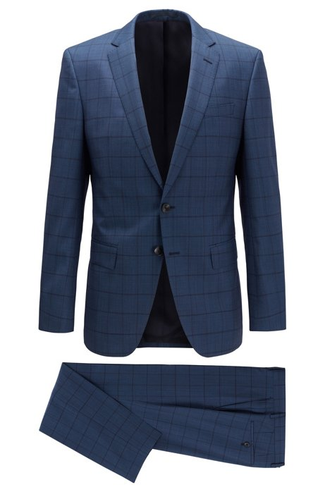 Slim-fit suit in checkered virgin wool, Open Blue
