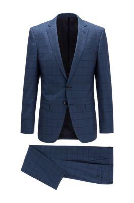 Slim-fit suit in checkered virgin wool, Light Blue