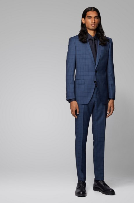 Slim-fit suit in checkered virgin wool, Light Blue