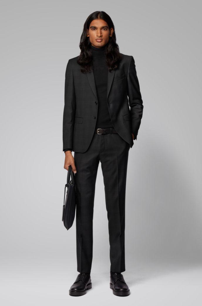 Extra-slim-fit checked jacket in virgin wool serge