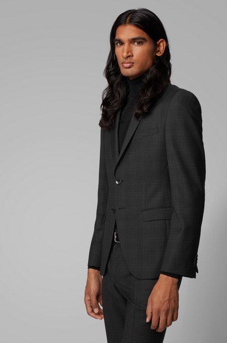 Extra-slim-fit checked jacket in virgin wool serge, Black