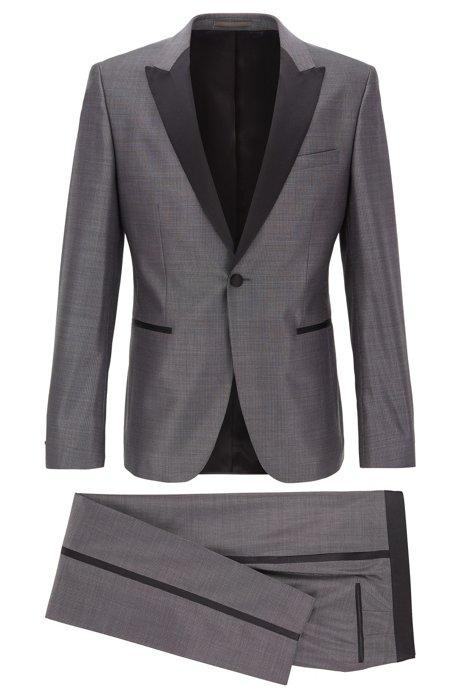 Extra-slim-fit tuxedo in virgin wool with silk, Grey