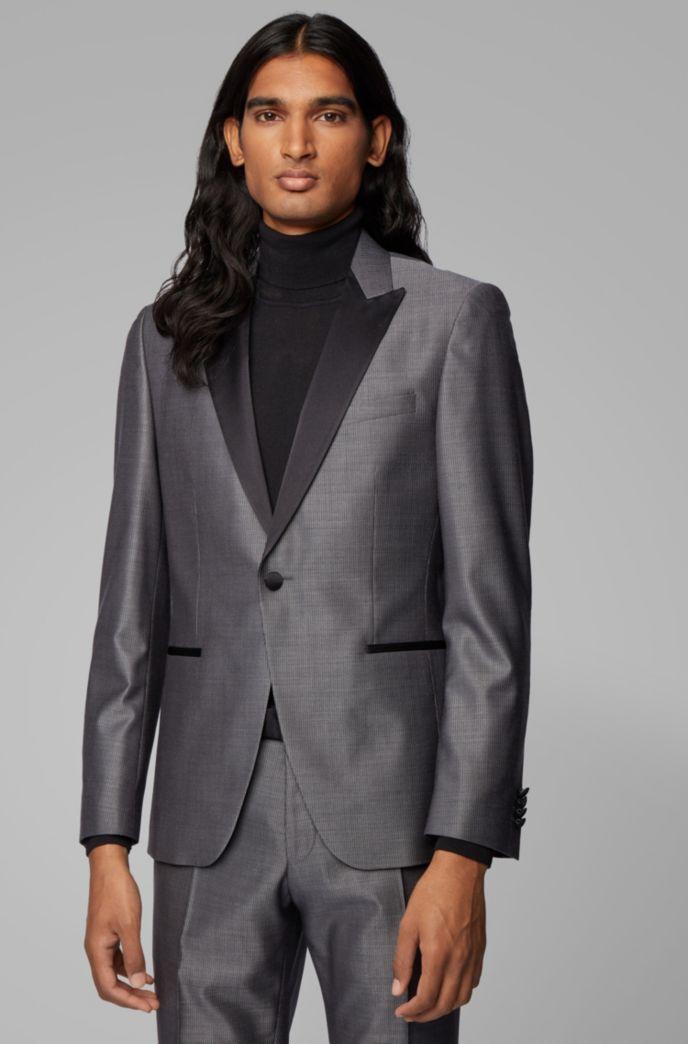 Extra-slim-fit tuxedo in virgin wool with silk