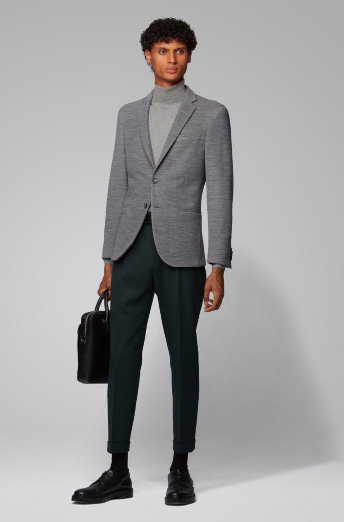 Slim-fit jacket in virgin-wool jersey