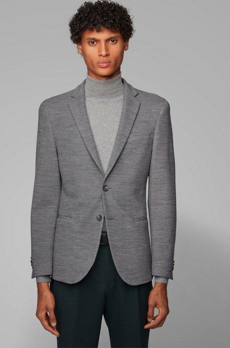 Slim-fit jacket in virgin-wool jersey, Grey