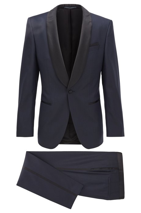 Slim-fit tuxedo in patterned virgin-wool serge, Dark Blue