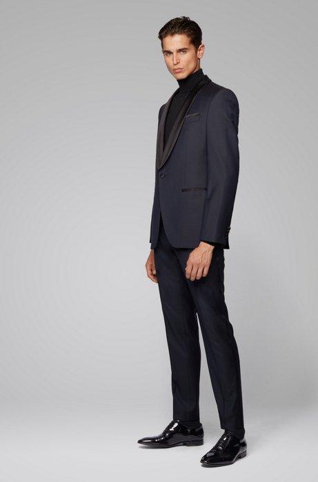 Slim-fit tuxedo in patterned virgin-wool serge, Dark Blue