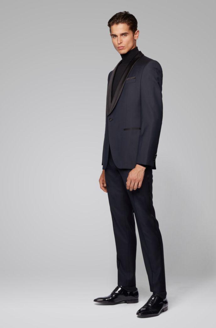 Slim-fit tuxedo in patterned virgin-wool serge