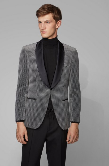 Slim-fit jacket in checked cotton with silk trims, Open Grey