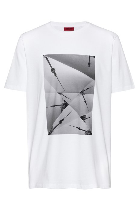 Relaxed-fit T-shirt in pure cotton with collection artwork , White