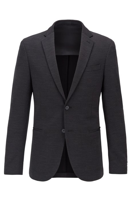 Slim-fit jacket in micro-patterned jersey, Black