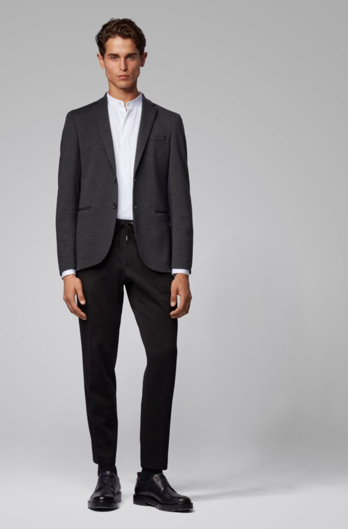 Slim-fit jacket in micro-patterned jersey