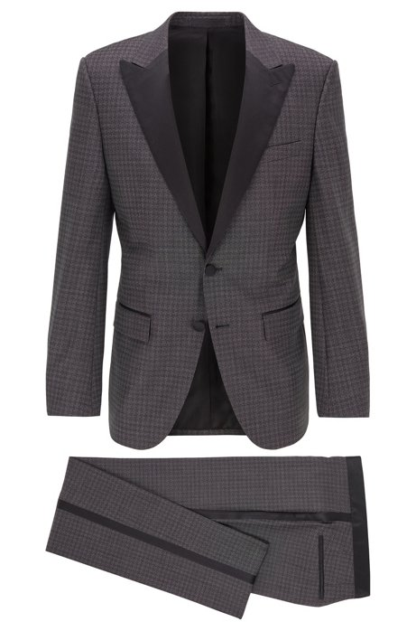 Slim-fit tuxedo in patterned Italian virgin wool, Open Grey