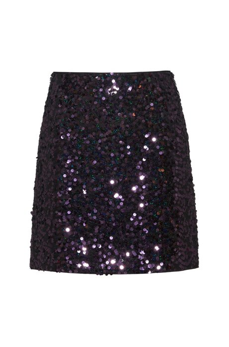 Slim-fit sequined mini skirt with concealed zipper, Red