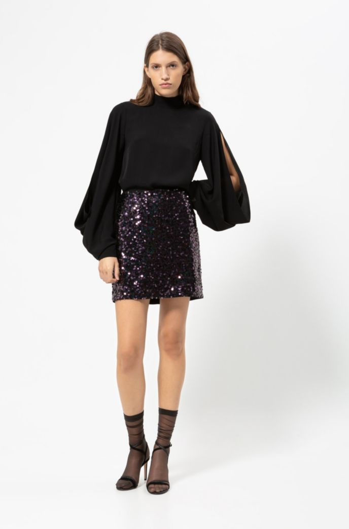 Slim-fit sequined mini skirt with concealed zipper