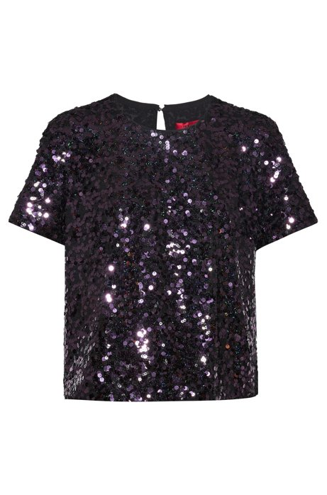 Regular-fit top with multi-sized sequins, Red