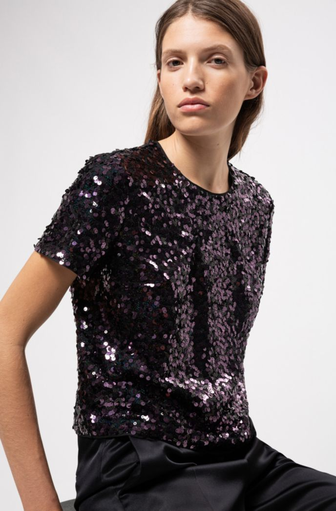 Regular-fit top with multi-sized sequins