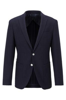 Extra-slim-fit jacket in patterned virgin wool, Dark Blue