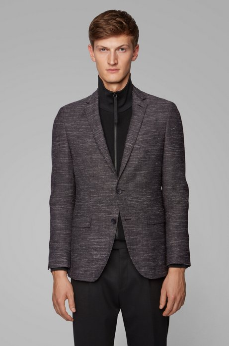 Slim-fit jacket in a virgin-wool blend, Charcoal