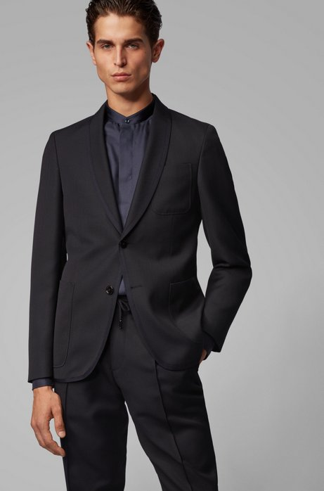 Slim-fit jacket with contrast-edge shawl lapels, Dark Blue
