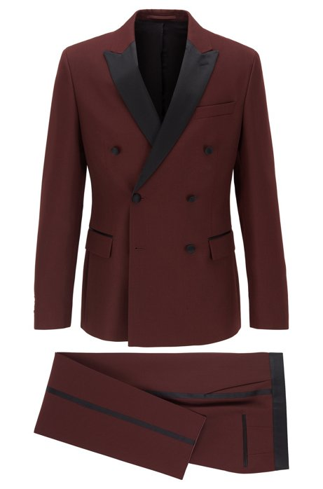 Double-breasted slim-fit suit with silk details, Dark Red